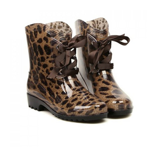 SALE - Lace-Up Round Toe Women's Rain Boots - Camo/Cheetah