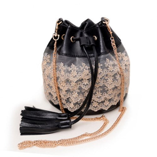 SALE - Pretty Lace and Tassel Bucket Bag