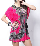 FREE DRESS!  With Order of $45 or more!  Hot Scoop Neck Short Batwing / Kimono Sleeve Printed Mini Dress