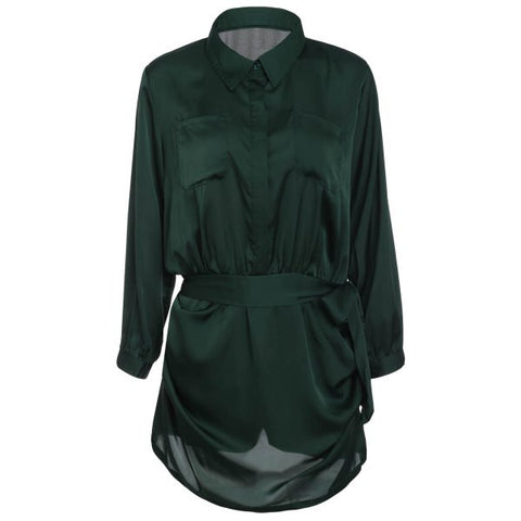 SALE!  Deep Green Long Sleeve Satin Romper