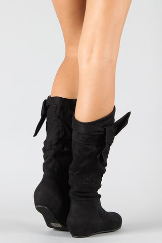 Wild Diva Lounge Knotted Suede Slouchy Wedge Boot