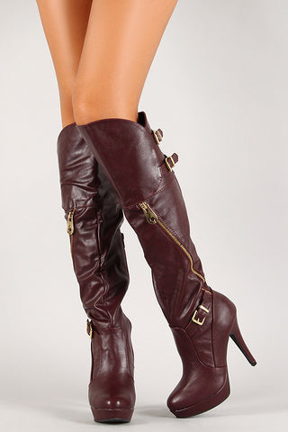 Bamboo Zipper Buckle Platform Stiletto Boot
