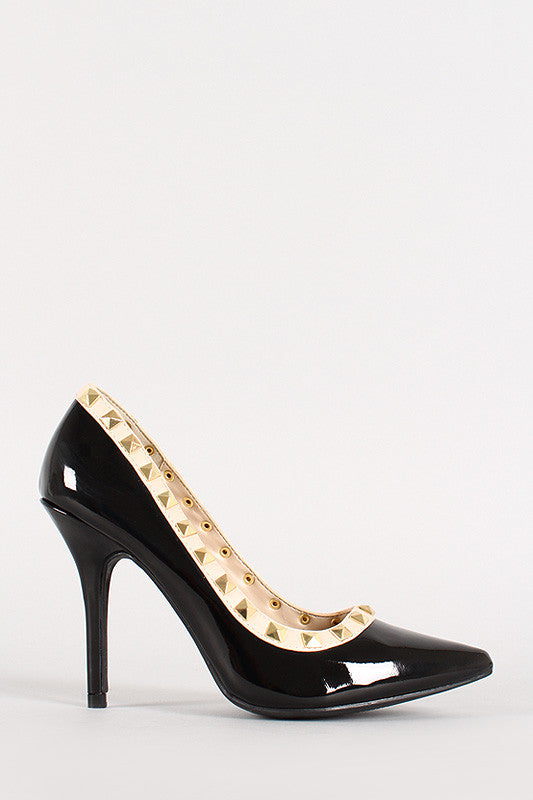 Wild Diva Lounge Patent Pyramid Studded Pointy Toe Pump