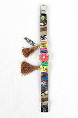 Neon Tribal Embroidered Bracelet
