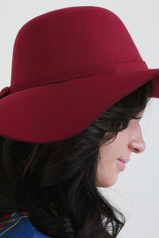 Knotted Band Felt Floppy Hat