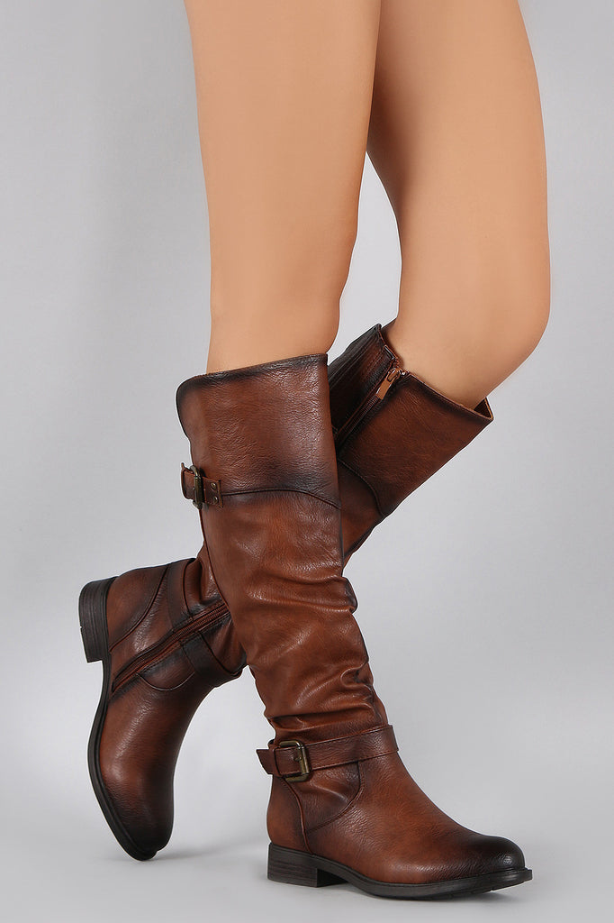 Crinkled Double Buckle Slouchy Riding Knee High Boot