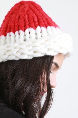 Two-Tone Oversized Knit Beanie
