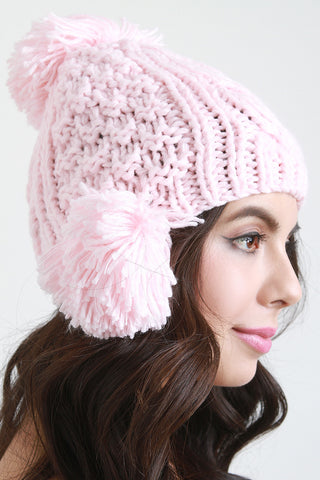 Mixed Cable Knit Triple Pom Pom Beanie