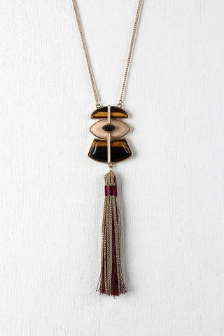 Multi-Colored Stone Tassel Necklace