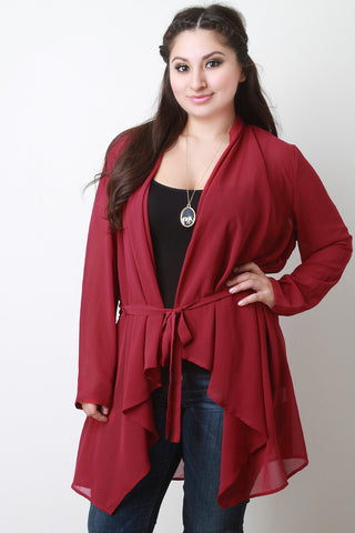 Waist-Tie Chiffon Open Front Long Sleeves Cardigan