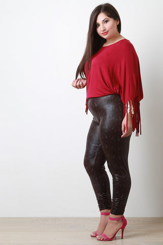 Glossy Snake Vegan Leather Leggings