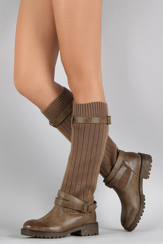 Sweater Shaft Buckled Riding Knee High Boots