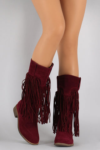 Liliana Suede Long Fringe Western Riding Boots