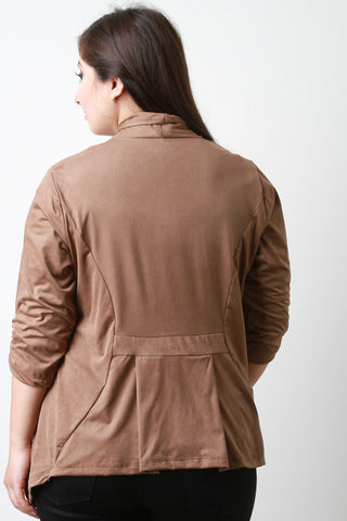 Draping Suede Quarter Sleeve Jacket