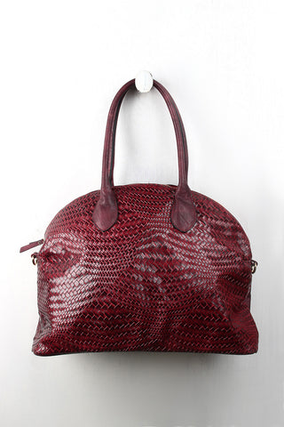 Woven Vegan Leather Dome Bag