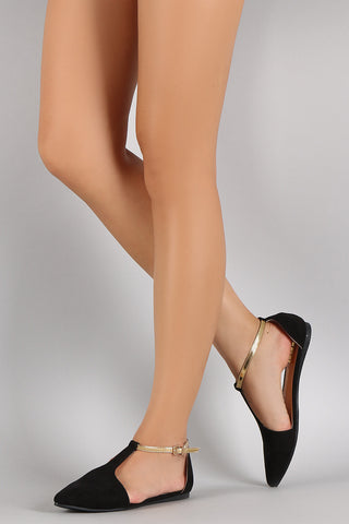Suede Pointy Toe Open Side Ankle Strap Flat