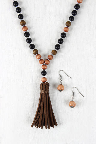 Faux Suede Tassel Wood Bead Necklace
