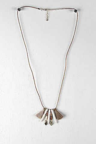 Bone Spike Shape Pendants Tassel Necklace
