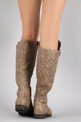 Quilted Zipper Riding Knee High Boots