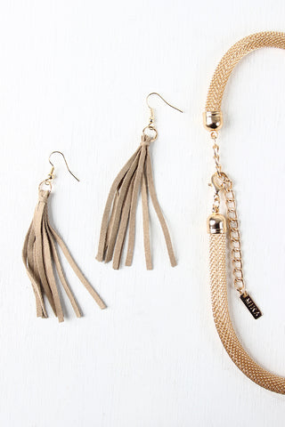 Chain And Suede Fringe Mesh Tube Necklace
