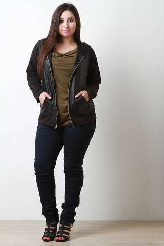 Combined Faux Leather And Jersey Knit Jacket