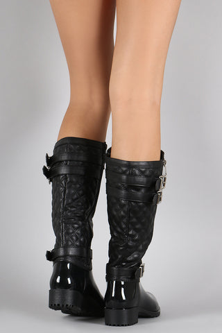 Quilted Side Zipper Buckled Jelly Knee High Rain Boots