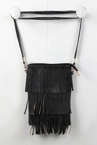 Vegan Leather Layered Fringe Pouch Bag
