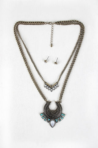 Tribal Crescent Layered Necklace Set