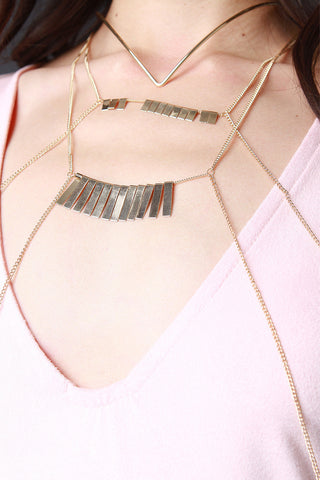 Pointed Wire Choker And Layered Body Chain