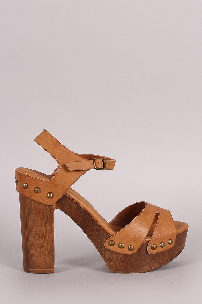 Bamboo Slit Open Toe Wooden Clog