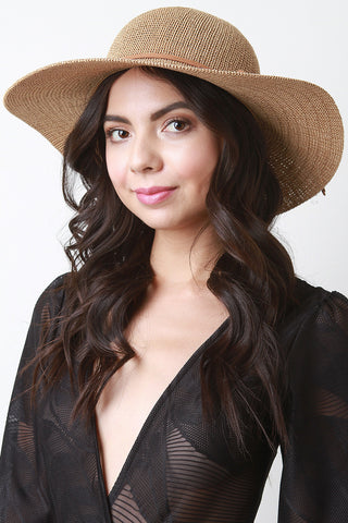 Straw Faux Suede Bow Floppy Hat