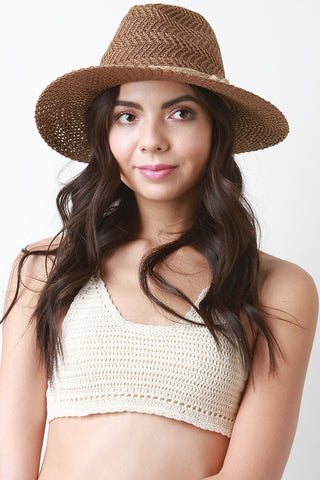 Faux Straw Braided Brim Hat