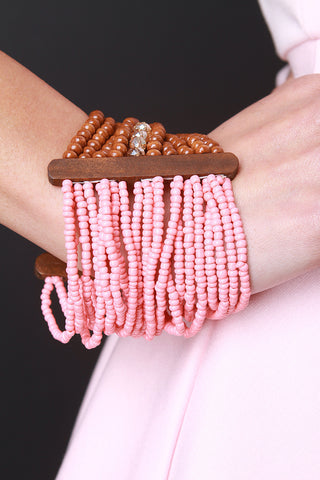 Two-Tone Beaded Strands Stretchy Bracelet