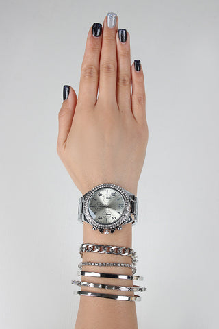 Rhinestone Watch And Cuff Bracelet Set