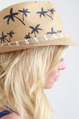Palm Tree Straw Fedora Hat
