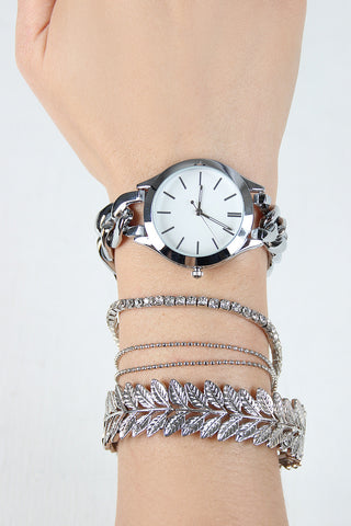 Glossy Curb Link Chain Watch And Leaves Bracelets Set