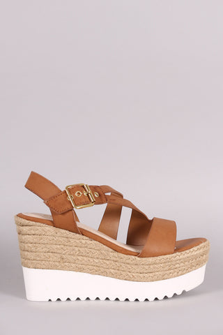 Bamboo Asymmetrical Strappy Flatform Wedge