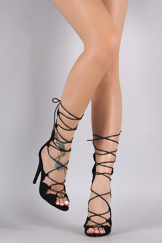 Suede Scallop Lace-Up Stiletto Heel