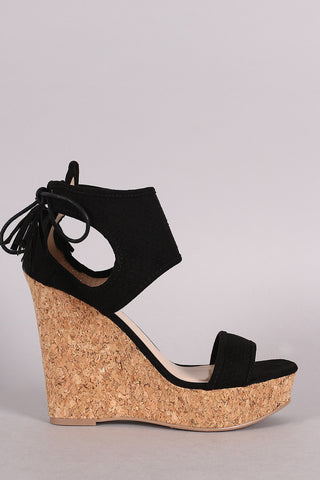 Qupid Scaly Ankle Cuff Cork Platform Wedge