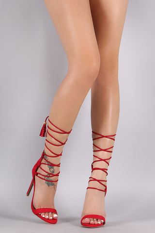 Qupid Suede Tassel Lace Up Stiletto Heel