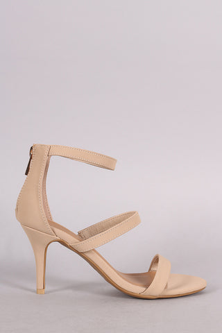 Bamboo Triple Straps Open Toe Kitten Heel