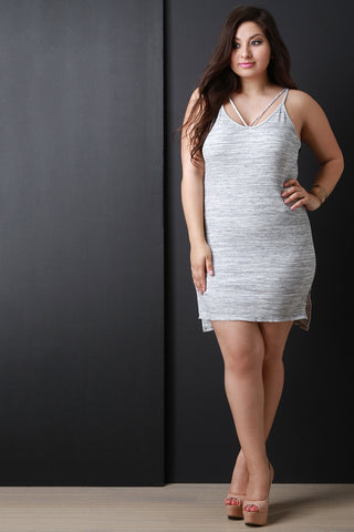 Marled Rib Knit Scoop Neck Mini Dress