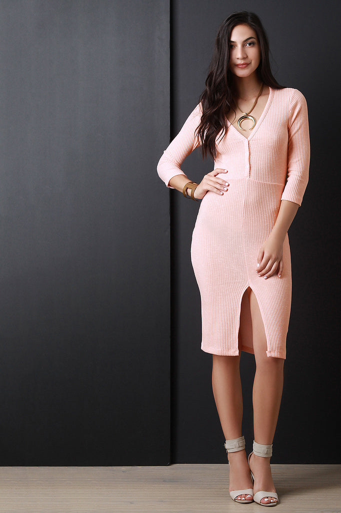 Half Placket Ribbed Knit Dress