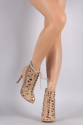 Paprika Nubuck Caged Lace Up Peep Toe Booties