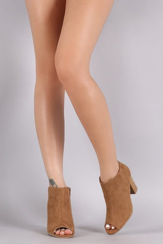 Qupid Peep Toe Ankle Booties