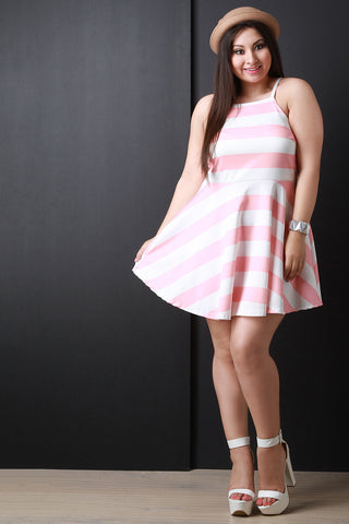 Horizontal Stripe High Neck Sleeveless Fit And Flare Dress