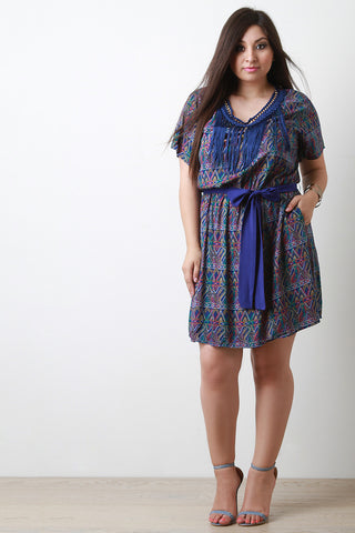 Chain Round Neck Macram Fringe A-Line Dress