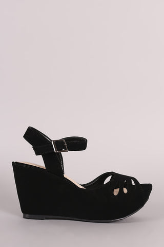 Perforated Nubuck Ankle Strap Platform Wedge