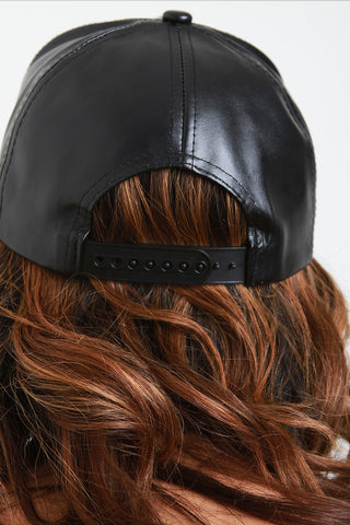 Vegan Leather Snap Back Baseball Hat