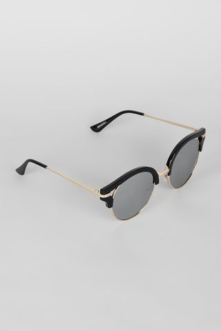 Round Semi-Rimless Cat Eye Sunglasses